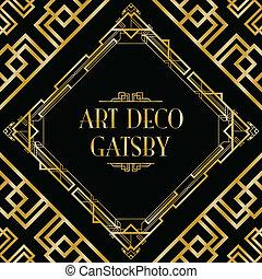 stijl, deco, kunst, gatsby, achtergrond
