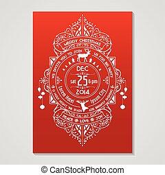 stijl, deco, kunst, -, typografie, calligraphic, vector, ontwerp, uitnodiging, kerstmis kaart