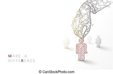 stijl, deeltje, bedrijfspersoon, candidate., concept., op, illustratie, hand, werving, lijnen, vector, rood, pluk, driehoeken, design.