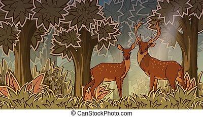 stijl, deers, twee, spotprent, bos
