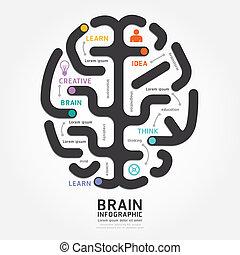 stijl, diagram, hersenen, vector, ontwerp, mal, infographics, lijn