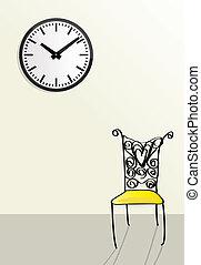 stijl, doodle, concepten, wachten, voorbijgaand, tijd, illustraties