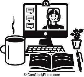 stijl, eenvoudig, webinar, computer ikoon, thuis