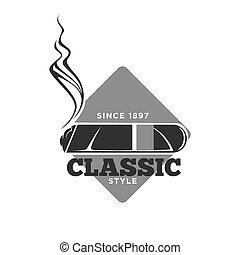 stijl, embleem, classieke, since, vrijstaand, monochroom, ...