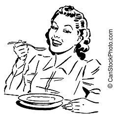 stijl, etende vrouw, ouderwetse , versie, black , verticaal,...
