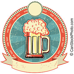stijl, etiket, papier, oud, texture., bier, ouderwetse