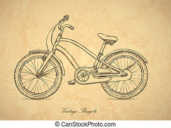 stijl, fiets, ouderwetse , -, vector, retro