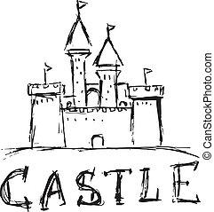stijl, formaat, doodle, illustratie, vector, kasteel