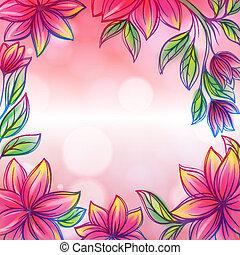 stijl, frame, ontwerp, retro, mal, floral