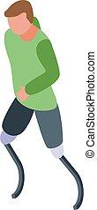 stijl, geamputeerd, isometric, rennende , man, pictogram, benen