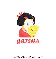 stijl, geisha, spotprent, pictogram