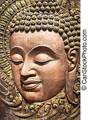 stijl, gezicht, houten gravure, heer, thai, boeddha, ...