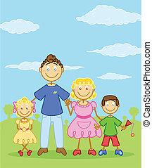 stijl, gezin, figuur, illustratie, stok, vrolijke