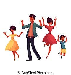 stijl, gezin, vrolijk, springt, spotprent, geluk