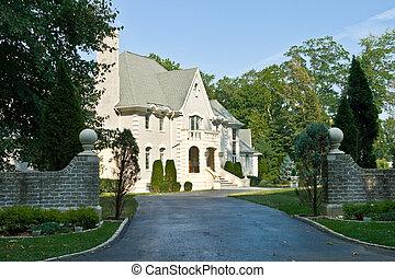stijl, gezin, wederopleving, pennsylvania, voorstedelijk, philadelphia, franse , enkel, house/chateau, eclectisch