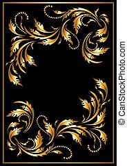 stijl, gotisch, frame, goud