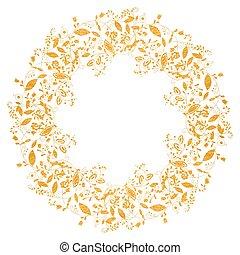 stijl, goud, doodle, frame, floral, cirkel