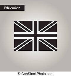 stijl, groot-brittannië, vlag, black , witte , pictogram
