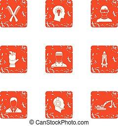 stijl, grunge, iconen, set, maand, werknemer