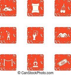stijl, grunge, iconen, set, reizen, ticket