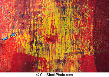 stijl, grunge, metaal, achtergrond, afgebroken, paint., rood