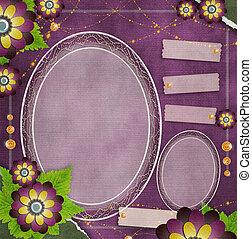 stijl, grunge, ouderwetse , frame, (1, set), glas, achtergrond, plakboek, bloemen