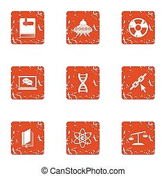 stijl, grunge, ruimte, set, iconen, chemie