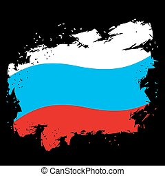 stijl, grunge, slagen, nationale vlag, achtergrond., staat, black , borstel, inkt, russische , splatter., symbool
