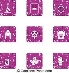 stijl, grunge, winter, iconen, set, viering, geitje