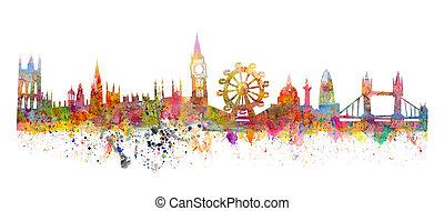 stijl, grunge, zoals, watercolor, skyline, londen, schilderij