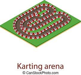 stijl, hardloop wedstrijd, karting, isometric, pictogram, 3d