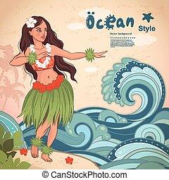 stijl, hawaiian, meisje, hula, retro, mooi