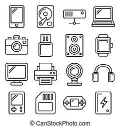 stijl, iconen, achtergrond., lijn, vector, gadgets, set, witte , artikelen & hulpmiddelen