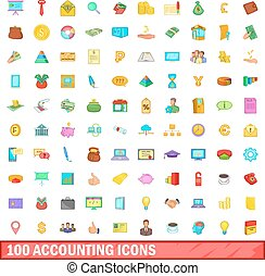 stijl, iconen, set, boekhouding, honderd, spotprent