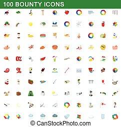 stijl, iconen, set, bounty, honderd, spotprent