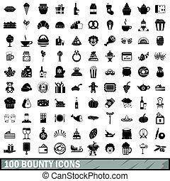 stijl, iconen, set, eenvoudig, bounty, honderd