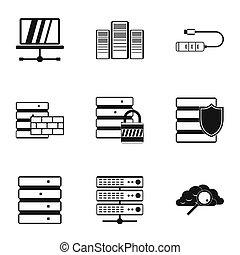 stijl, iconen,  Set, eenvoudig,  Computer,  Data