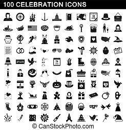 stijl, iconen, set, eenvoudig, honderd, viering