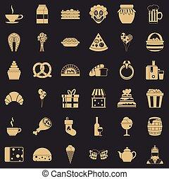 stijl, iconen, set, groot, eenvoudig, bounty