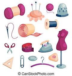stijl, iconen, set, kleermaker, gereedschap, spotprent