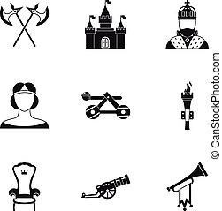stijl, iconen, set, leeftijden, middelbare , militair, eenvoudig
