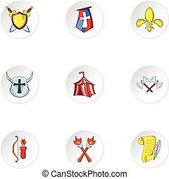 stijl, iconen, set, leeftijden, middelbare , militair, spotprent