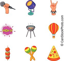 stijl, iconen, set, lucht, open, spotprent