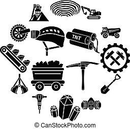 stijl, iconen, set, mijn, steenkool, eenvoudig