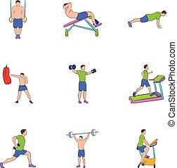 stijl, iconen, set, oefeningen, spotprent, lichamelijk