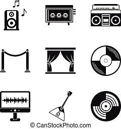 stijl, iconen, set, schrijvende , eenvoudig, muziek
