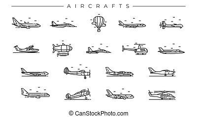 stijl, iconen, set., vliegtuigen, vector, lijn, concept