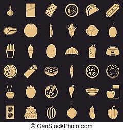 stijl, iconen, set, voedings, waarde, eenvoudig