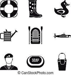 stijl, iconen, set, water, eenvoudig, activiteit