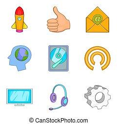 stijl, iconen, technisch, set, innovatie, spotprent